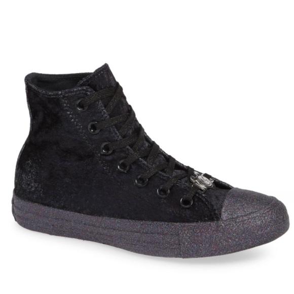 557bd2da4f0f Miley Cyrus x Converse black velvet high tops